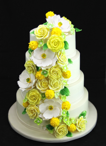 Shades of Yellow Floral Wedding Cake